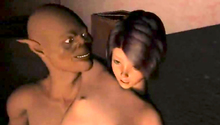 Petite small-titted cutie fucks with an evil creature